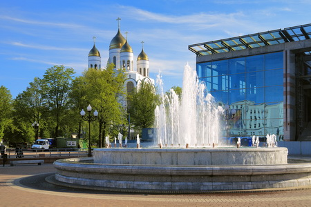 Fountain and Cathedral in Kaliningrad